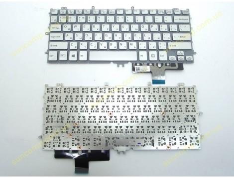 Клавиатура для SONY Pro 11, SVP11, SVP112, SVP112A, SVP1121, SVP1121A ( RU Silver без рамки. Горизонтальный Enter). Оригинал.